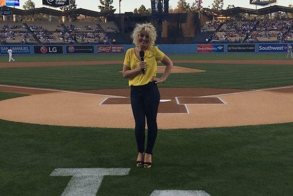 Cam on the field of Dodger Stadium