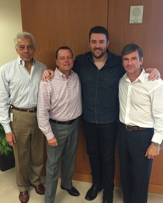 Pictured (L-R): SVP Programming Mike McVay, VP of Label Relations John Kilgo, Chris Young, EVP of Content & Programming John W. Dickey.