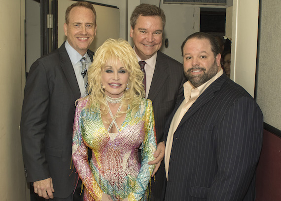 Pictured (L-R): Bob Greenblatt, Chairman, NBC Entertainment; Dolly Parton; Sam Haskell, President, Magnolia Hill Entertainment through Warner Brothers Television,; Danny Nozell, CTK Management.