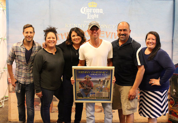Pictured (l-r):  Morris Higham Management's Kyle Quiqley; Sony Music Nashville Director, Marketing, Rachel Fontenot and VP, Sales, Caryl Healey; Kenny Chesney; Sony Music Nashville Sr. VP Marketing, Paul Barnabee and Director, Digital Sales, Alaina Vehec. Photo: Jill Trunnell