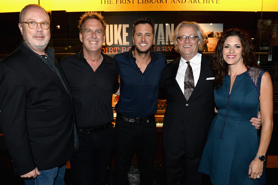 Pictured (L-R): Universal Music Group Nashville's Mike Dungan, LiveNation's Brian O'Connell, Luke Bryan, Country Music Hall of Fame and Museum CEO Kyle Young, and KP Entertainment's Kerri Edwards. Photo: Jason Davis/Getty Images for CMHOF