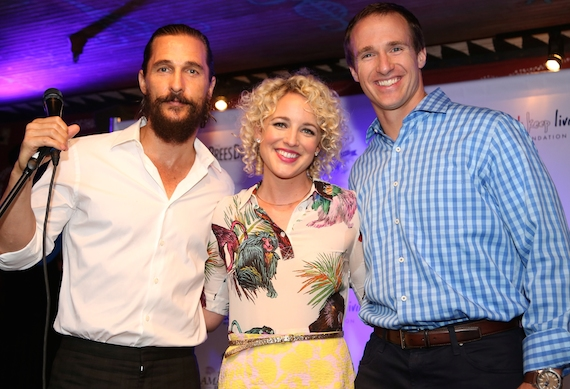 Pictured (L-R): Oscar winning actor Matthew McConaughey, Arista Nashville's Cam, & New Orleans Saints Quarterback Drew Brees. Photo: Jim Ezell - EZ Event Photography