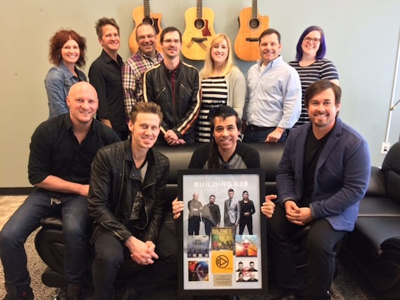 Pictured (Back row, L-R): Nina Woodard, Blaine Barcus, Andrew Patton, Ben Brown,  JoAnna Illingworth, Jimmy Wheeler, Amanda Snyder, Provident Label Group. (Front row, L-R): Aaron Branch, Jason Roy, Jesse Garcia, Michael Anderson, Building 429