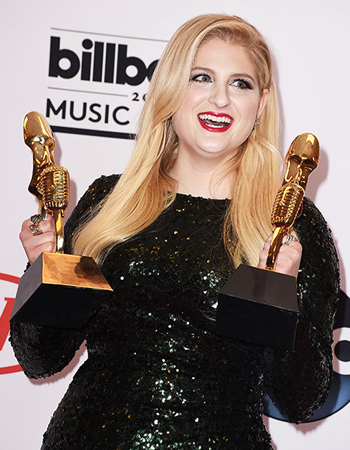 Meghan Trainor accepts two awards at the May 17th Billboard Music Awards in Las Vegas. Photo: Steve Granitz/WireImage/Billboard