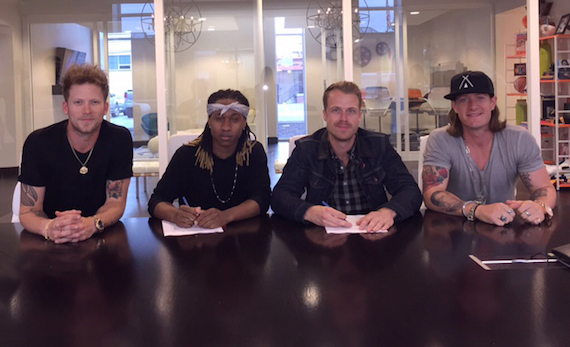 Pictured (L -R): Brian Kelley, Drew Castleberry, Jimmy Deeghan, and Tyler Hubbard. Photo: Courtesy of Tree Vibez Music
