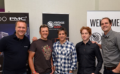 "Pictured (L-R) at ASCAP's ""I Create Music"" are PMC President of Sales & Marketing Maurice Patist; speakers Michael James and Rob Chiarelli; Vintage King Sales Representatives Jeffrey Ehrenberg and Chris Bolitho.  Photo: David Goggin"