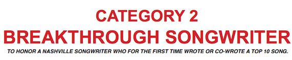 category 2 breakthrough songwriter header