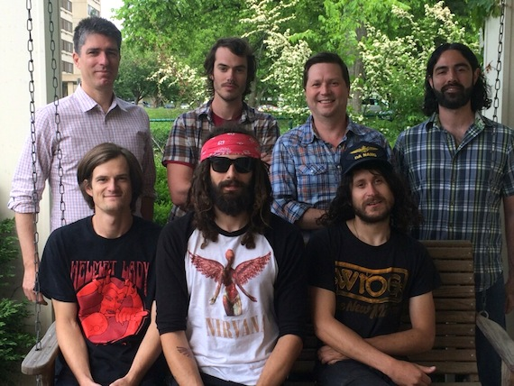 Pictured: (Front Row L-R) Ben McLeod, Robby Staebler, Allan Van Cleave of All Them Witches (Back Row L-R): John Strohm, Loeb and Loeb; Michael Parks, All Them Witches; John Allen, President of New West Records; Santo Pullella, management.