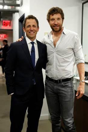 TV Host Seth Meyers and country artist Brett Eldredge.