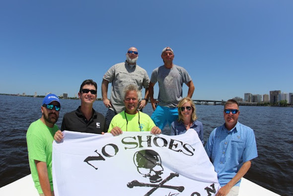 Pictured Front Row L-R: Captain Nathan (Seafood Kitchen Boat), Pat Murray (Coastal Conservation Association President) Captain Russell (Seafood Kitchen Boat) Kelleigh Gorski and Brian Gorski (Executive Director CCA Florida) Back Row Left to Right: Brett Palmer (AbiJack Management, Inc) and Kenny Chesney. Photo Courtesy: Kenny Chesney