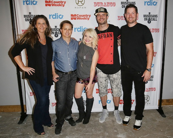 Sam Hunt, RaeLynn and The Shires performed at the Country Weekly Kick-Off Party Powered by NASH in Nashville Tuesday (June 9) night at the Cannery Ballroom. The sold-out event at Cannery Ballroom benefited Musicians On Call. Pictured (L-R): Lisa Konicki (Editor-In-Chief, NASH Country Weekly), Jeff Meltesen (Pubisher, NASH Country Weekly), RaeLynn, Sam Hunt and Pete Griffin (President, Musicians On Call)