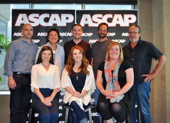 Pictured (l-r, front row): Kelly Donley, attorney - Safford Motley, Sarah Allison Turner, Courtney Crist - Hori Pro, (back row) ASCAP's Robert Filhart, Butch Baker - Hori Pro, Lee Krabel - Hori Pro, Tim Stehli - Hori Pro, Blake Chancey - True Bearing Entertainment
