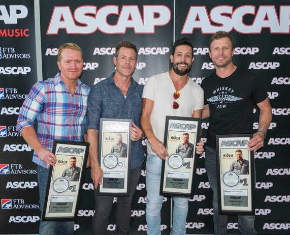 "Pictured (l-r): ""Say You Do"" songwriters Shane McAnally, Trevor Rosen and Matthew Ramsey with ASCAP songwriter-artist Dierks Bentley. Photo by Ed Rode."