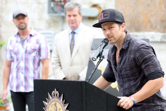 "(L-R): Kip Moore speaks at ""Comeback Kid Skatepark Project"" press conference on 6/3. Photo: Alan Poizner."