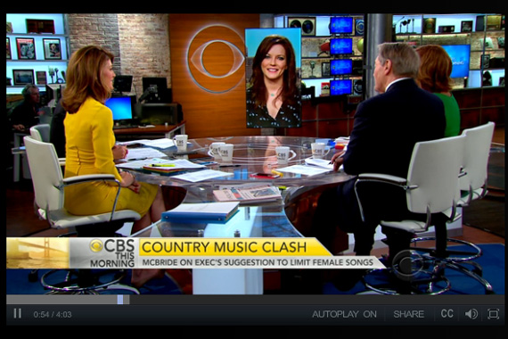 Martina McBride appears CBS This Morning in NYC on Tuesday, June 2 where she discusses her thoughts on the state of Country radio's lack of female voices.