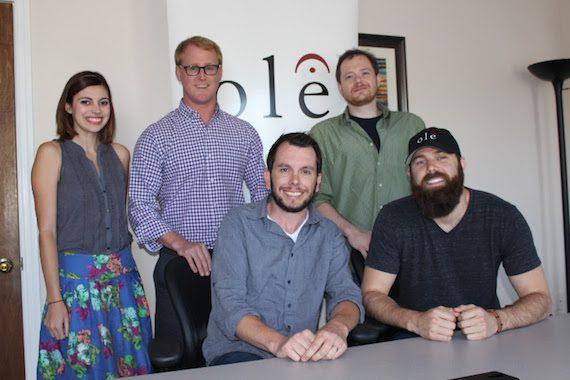 Pictured (L-R): Emily Mueller (ole Creative Manager), John Ozier<br />(ole GM Creative), Ben Strain (ole Creative Director), Jordan Davis, and Noah McPike (Almon &amp; McPike, PLLC).