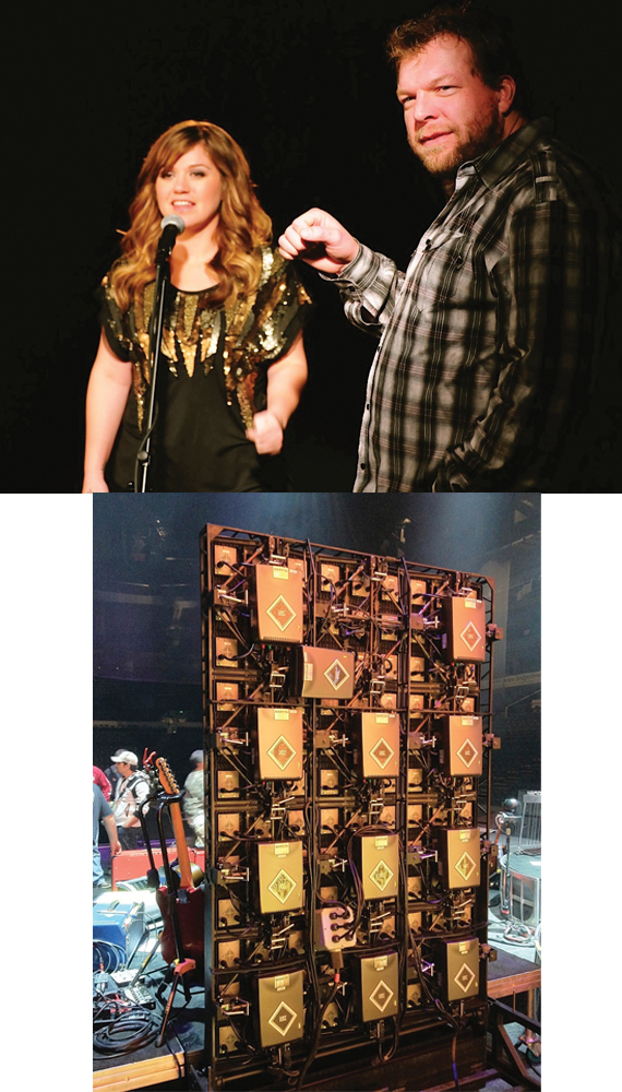 "(Top):Kelly Clarkson preps hologram-like video for ""Don't You Wanna Stay"" with Scott Scovill. (Bottom): Inner workings of one of Scovill's two high definition LCD screens, created for concert tours by Moo TV. Photos: Moo TV"