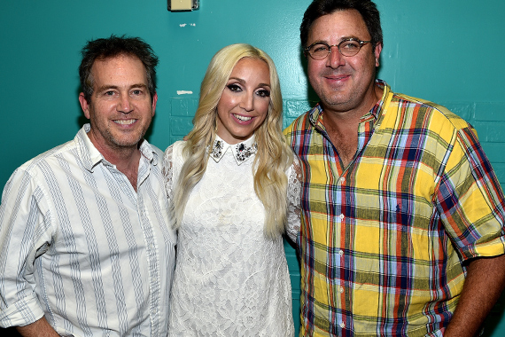 Pictured (L-R): Justin Niebank (Co-producer, The Blade), Ashley Monroe and Vince Gill (Co-producer, The Blade).