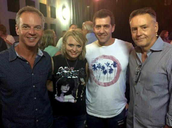 Pictured (l-r) with Lambert: Sony Music Nashville EVP, Promotion & Artist Development Steve Hodges; EVP & COO Ken Robold; and Chairman & CEO Randy Goodman.