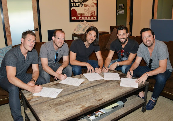 Old Dominion signs up for ACM membership at the Academy of Country Music office in Encino, CA. Photo: Michel Bourquard/Courtesy of the Academy of Country Music