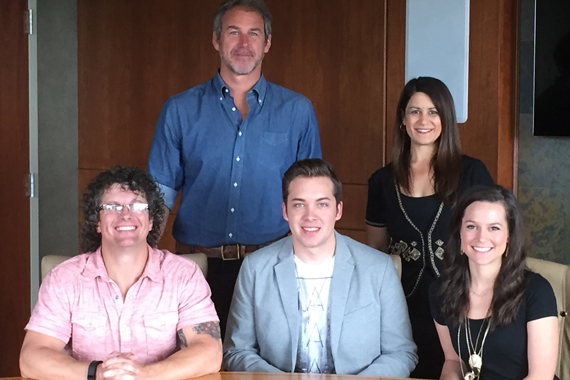 Pictured (back row L-R): Mike Snider, WME; Denise Stevens, Partner, Loeb & Loeb, LLP; (seated L-R): Tim Hunze, Parallel Music Publishing; Alex Hall; Hannah Showmaker, Parallel Entertainment