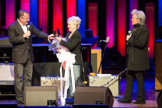 Pictured: (L-R): Opry VP/GM Pete Fisher, Connie Smith, and Marty Stuart