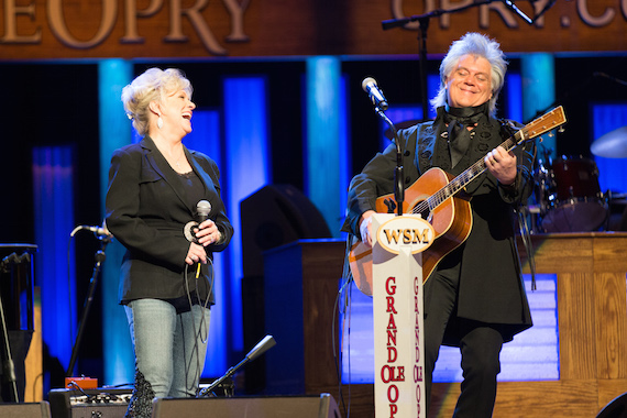 Connie Smith and Marty Stuart share a laugh during her 50th anniversary celebration