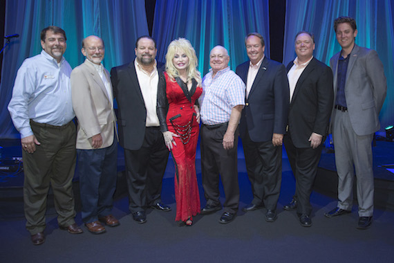 Pictured (L-R): Dollywood Dir. Public Relations Pete Owens, Dollywood Foundation President David Dotson, CTK Management's Danny Nozell, Dolly Parton, Dolly Parton Productions President Ted Miller, The Dollywood Company President Craig Ross, Webster PR's Kirt Webster and Jeremy Westby.