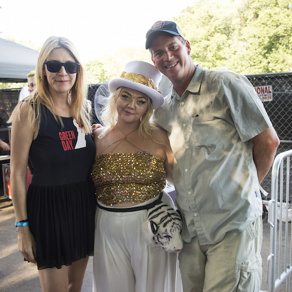 Pictured (L-R) BMI's Samantha Cox (L) and Mark Mason (R) with BMI singer-songwriter Elle King