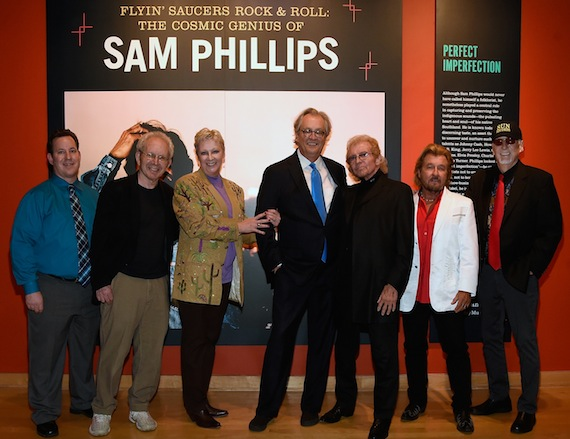 Pictured are (l-r): Country Music Hall of Fame and Museum Editor and co-curator Michael Gray; co-curator and author Peter Guralnick; Country Music Hall of Fame and Museum Sr. VP of Museum Services Carolyn Tate; Country Music Hall of Fame and Museum CEO Kyle Young; Knox and Jerry Phillips, sons of Sam Phillips; and guitarist Sonny Burgess. Photo by Rick Diamond/Getty Images for Country Music Hall Of Fame & Museum)