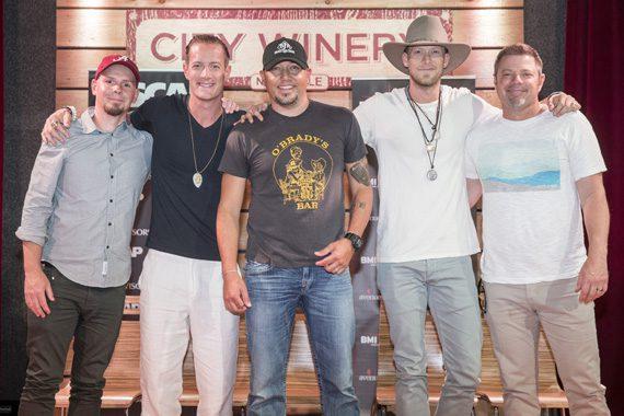 (L-R): Songwriter Chris Tompkins, Florida Georgia Line's Tyler Hubbard, Jason Aldean, FGL's Brian Kelley, Sonwriter Rodney Clawson. Photo: John Russell