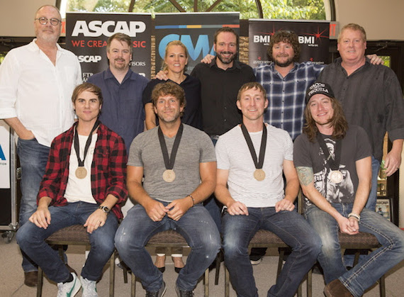 Pictured (l-r, front row): Co-writer Ross Copperman, Billy Currington, and co-writers Ashley Gorley and Jaren Johnston; (back row) ​Universal Music Group Nashville Chairman & CEO Mike Dungan, Warner Chappell Music Publishing's Ben Vaughn, BMI's Leslie Roberts, Sony ATV Music Publishing's Josh Van Valkenburg, Combustion Music's Chris Van Belkom and ASCAP's Mike Sistad