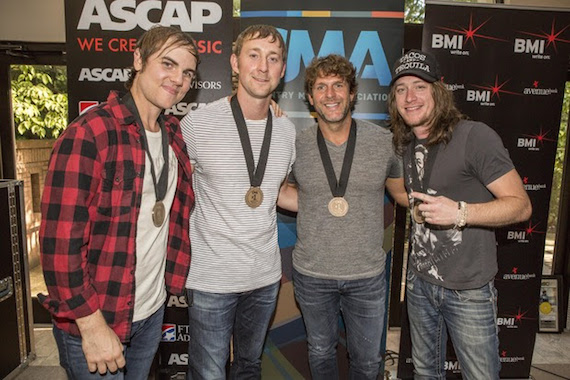 "Pictured (l-r): ""Don't It"" co-writers Ross Copperman and Ashley Gorley, Billy Currington, and co-writer Jaren Johnston Photos by Ed Rode"