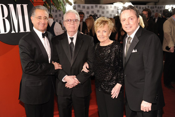 BMI President & CEO Del Bryant; 2010 BMI Icon Billy Sherrill; Charlene Sherrill; and BMI Vice President, Writer/Publisher Relations, Jody Williams pause for a photo at the 2010 BMI Country Awards, staged November 9 at the organization's Music Row offices. Photo: BMI