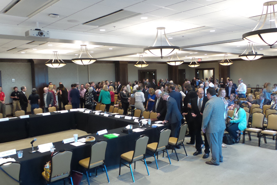 Invitees and public gather at Belmont on September 22 to speak to representatives of the House Judiciary Committee.
