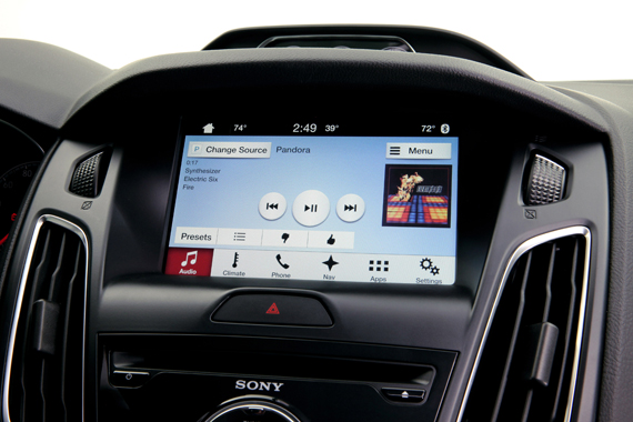 Apps like Pandora are displayed on screen and display many of the app features customers use on their phones.