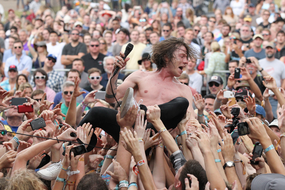 Matt Schultz of Cage The Elephant crowdsurfs the first afternoon of the Franklin, Tenn. Pilgrimage Music Festival. Photo: Terry Wyatt.