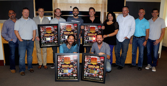 Pictured (L-R) Back Row: Paul Barnabee (SVP, Marketing, Sony Music Nashville), Josh Easler, Randy Goodman (Chairman & CEO, Sony Music Nashville), Whit Sellers, Matthew Ramsey, Trevor Rosen, Caryl Healey (VP, Sales, Sony Music Nashville), Keith Gale (SVP/National Promotion, RCA), Steve Hodges (EVP, Promotions & Artist Development, Sony Music Nashville), Ken Robold (EVP & COO, Sony Music Nashville) Front Row: Geoff Sprung, Brad Tursi