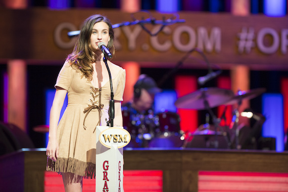 Rainey Qualley performs at the Grand Ole Opry. Photo: Chris Hollo.