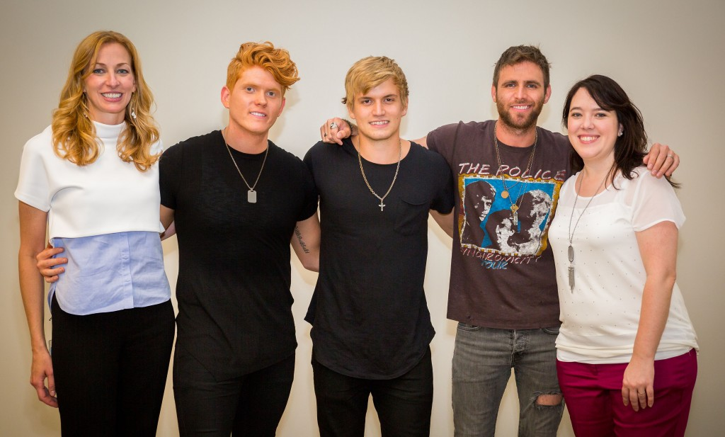 Pictured are (l-r): The Country Music Hall of Fame and Museum's Lisa Purcell, Seth Alley, Levi Hummon, Canaan Smith, and the Country Music Hall of Fame and Museum's Amanda Richard. Photo: CK Photo