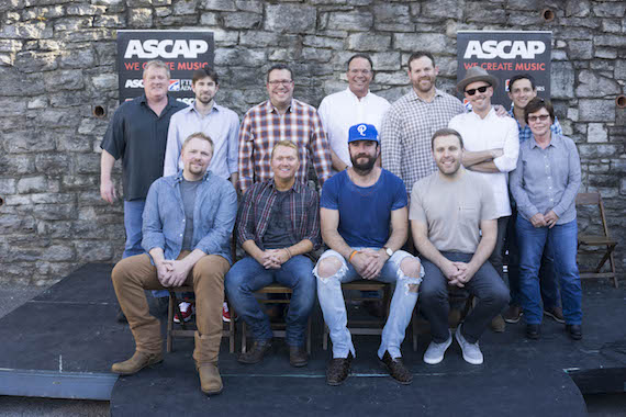 Pictured (front, L-R): Osborne, McAnally, Hunt, Crowell. Pictured (Back, L-R): ASCAP's Mike Sistad, Black River's Dave Pacula, UMPG's Kent Earls, Three Mules Music's Chris Hunter, UMG's Royce Risser, Hunt's manager Brad Belanger, and Smacktown Music's Robert Carlton and Robin Palmer