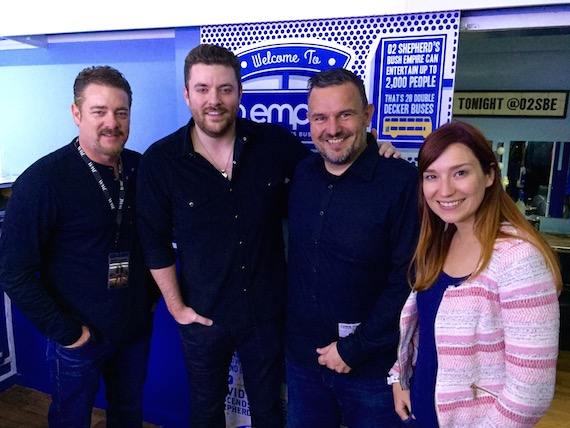 Pictured (L-R): Rob Beckham/WME, Chris Young, Steve Homer/Live Nation UK, Anna-Sophie Mertens/Live Nation UK. Photo: Monarch Publicity