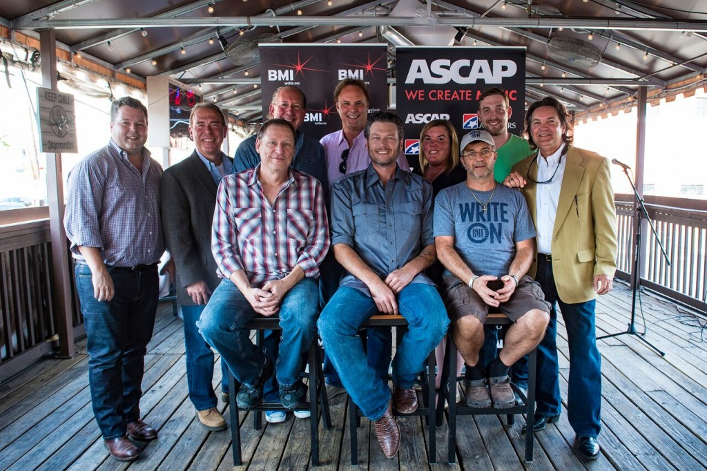 Pictured: (L-R): (Back Row) BMI's Bradley Collins, Round Hill's Mark Brown, WMG's John Esposito, producer Scott Hendricks, Hori Pro's Courtney Crist, Lee Krabel and Butch Baker. (Front Row) BMI songwriter Wade Kirby, BMI affiliate Blake Shelton and BMI songwriter Phil O'Donnell.