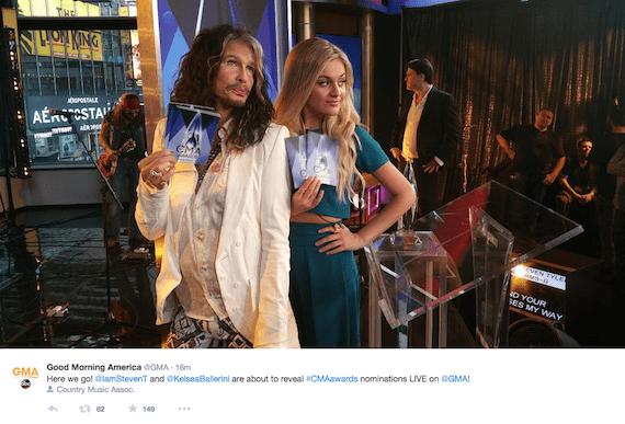 kelsea ballerini and steven tyler on GMA CMA noms 2015