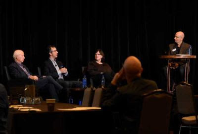 Pictured (L-R): Cary Sherman, Chairman and CEO of the Recording Industry Association of America; David Israelite, President and CEO of the National Music Publishers' Association; and Ann Sweeney, Senior Vice President of Global Policy at BMI participate in a panel discussion moderated by David Ross, CMA Board member and President of BossRoss Media at the CMA Board of Directors meeting Tuesday in Nashville. Photo: Caitlin Harris / CMA