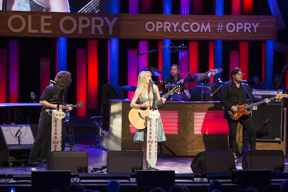 "Carrie Underwood performs ""Smoke Break"" at the Grand Ole Opry. Photo: Chris Hollo."