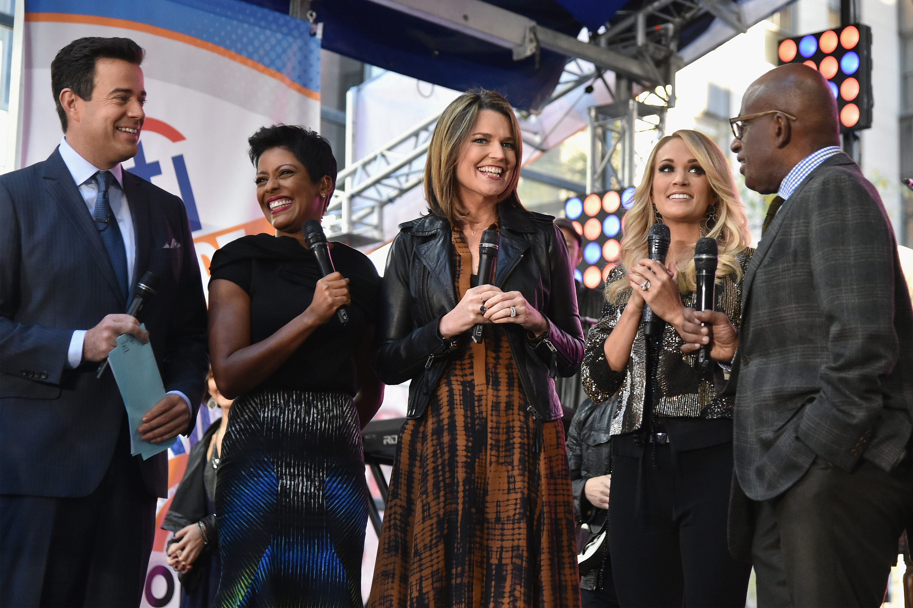 Pictured (L-R): Today's Carson Daly, Tamron Hall, and Savannah Guthrie; Carrie Underwood; and Today's Al Roker. Photo: Mike Coppola/Getty Images for Citi.
