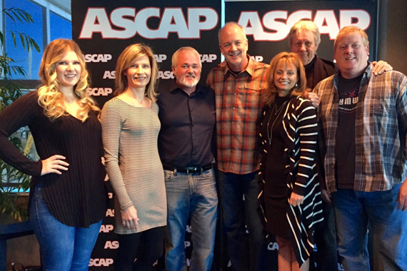 Pictured (L-R): Michelle Attardi (Creative Director, DHM), Susan Hodges (VP of Administration, DHM), Dan Hodges (Owner/GM, DHM), Byron Hill, and ASCAP's Kele Currier, Ralph Murphy, Mike Sistad.