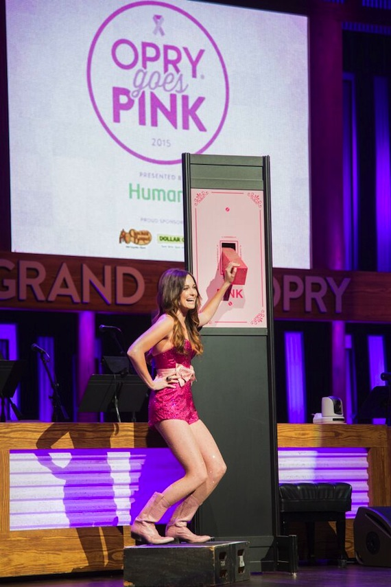 "Kacey Musgraves flips the switch on the Grand Ole Opry's signature barn turning it pink at the 7th Annual ""Opry Goes Pink"" show."