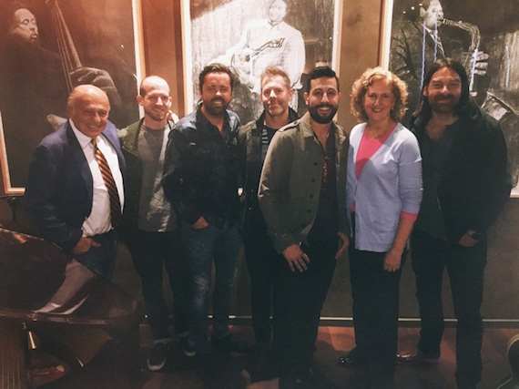 Pictured (L-R): Sony Music Entertainment CEO Doug Morris; Old Dominion's Whit Sellers, Brad Tursi, Trevor Rosen, and Matthew Ramsey; Sony Music Entertainment EVP Business Affairs & General Counsel Julie Swidler; and Old Dominion's Geoff Sprung.